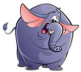 Cartoon happy purple elephant
