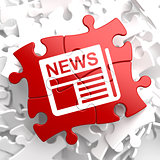 Newspaper Icon with News Word on Red Puzzle.