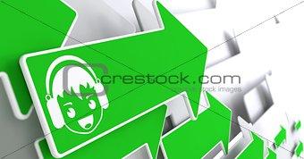 Boy with Headphones Icon on Green Arrow.