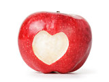 heart carved on an red apple