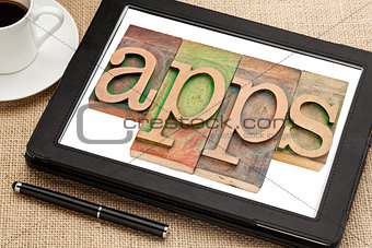 apps word on digital tablet