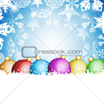 Christmas balls and white snowflakes
