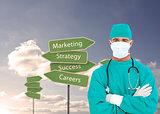 Composite image of portrait of an ambitious surgeon