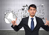 Composite image of unsmiling businessman holding