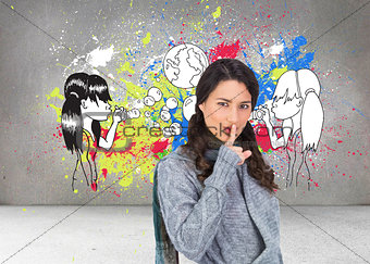 Composite image of young model with winter clothes keeping secret