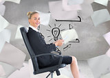 Composite image of businesswoman sitting in swivel chair holding folder