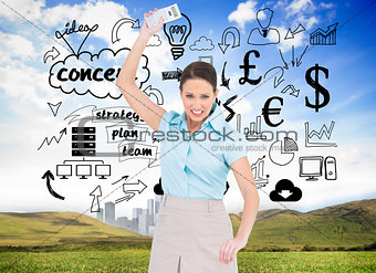 Composite image of furious classy businesswoman throwing her calculator