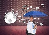 Composite image of businessman holding umbrella smiling at camera