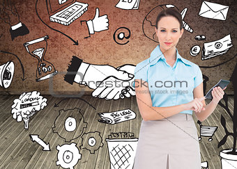 Composite image of serious classy businesswoman using calculator