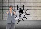 Composite image of smiling businesswoman giving thumbs up