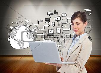 Composite image of confident businesswoman holding laptop