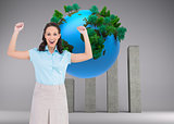 Composite image of victorious stylish businesswoman posing
