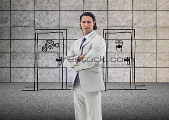 Composite image of serious office worker posing with the arms crossed