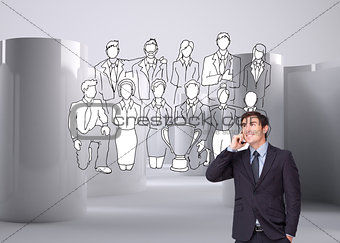 Composite image of happy businessman phoning