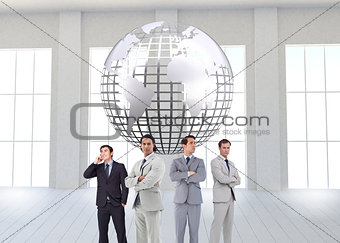Composite image of businessmen standing arms crossed