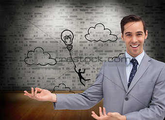 Composite image of young businessman presenting something