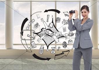 Composite image of businesswoman posing with binoculars