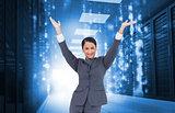 Composite image of cheering businesswoman