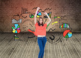 Composite image of laughing teenage wearing casual clothes while raising her arms