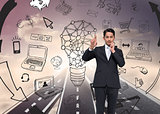 Composite image of thouhgtful asian businessman pointing