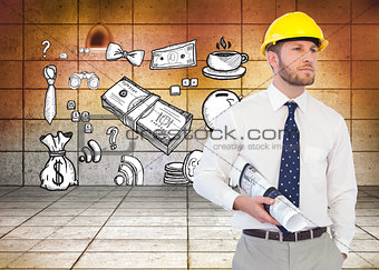 Composite image of young architect posing with hard hat and plan