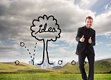 Composite image of businessman with thumbs up in a meeting
