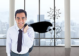 Composite image of smiling businessman standing
