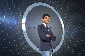 Composite image of smiling casual businessman with arms crossed