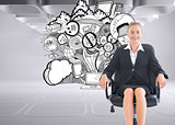 Composite image of businesswoman sitting on swivel chair in black suit