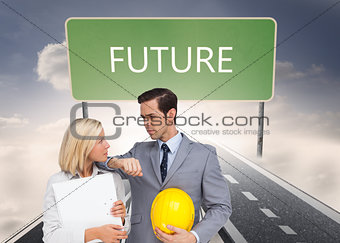 Composite image of architects with plans and hard hat looking at each other