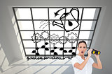 Composite image of astonished elegant businesswoman holding binoculars