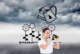 Composite image of serious elegant businesswoman looking through binoculars