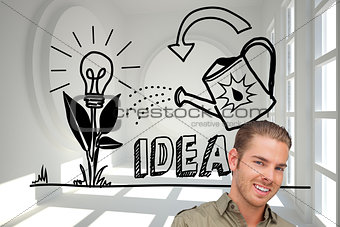 Composite image of happy man using tablet pc