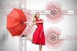 Composite image of elegant blonde holding umbrella