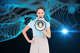 Composite image of furious classy businesswoman talking in megaphone