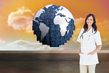 Composite image of confident and smiling woman doctor standing in front of the window