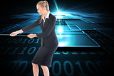 Composite image of businesswoman pulling a rope