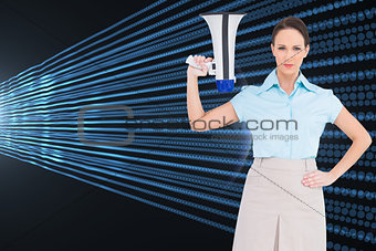 Composite image of stern classy businesswoman holding megaphone
