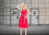 Composite image of elegant blonde standing hand on hip