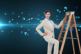 Composite image of smiling businesswoman climbing the career ladder