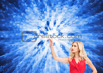 Composite image of elegant blonde standing pointing