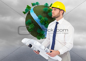 Composite image of thoughtful young architect posing