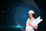 Composite image of confident woman holding construction plans