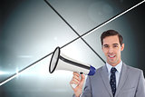 Composite image of smiling businessman holding a megaphone