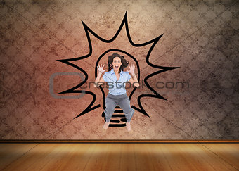 Composite image of cheerful classy businesswoman having fun