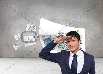 Composite image of smiling casual businessman looking