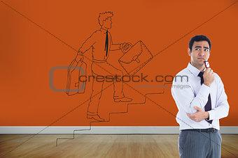 Composite image of thinking businessman holding glasses