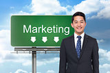 Composite image of signpost showing marketing direction
