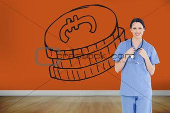 Composite image of smiling medical intern wearing a blue short-sleeve uniform