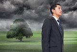 Composite image of misty green landscape